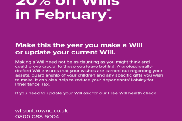 Purple Monday is the day to make your will – Save 20% off Wills on 10th February