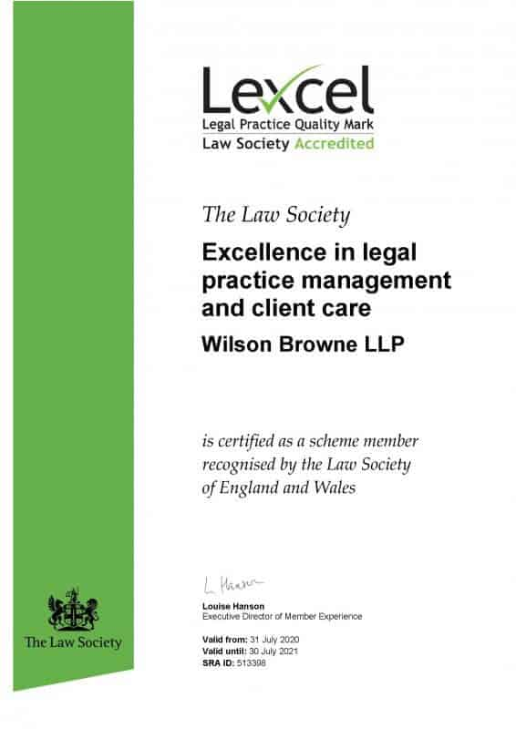 Lexcel Excellence in legal practice management and client care - Wilson Browne LLP